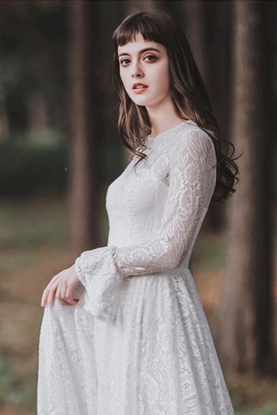 Illusion Long Sleeve Lace A-line Wedding Dress_11