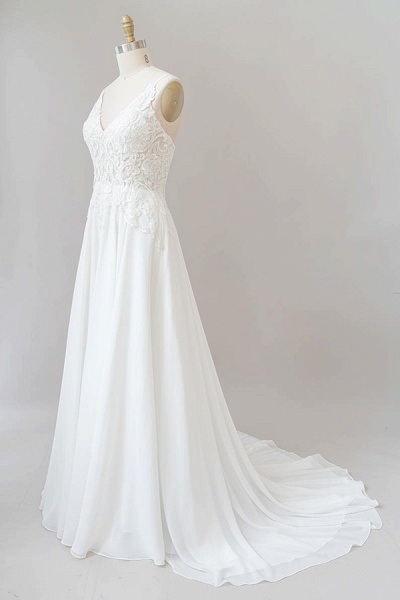 Spaghetti Strap Appliques Chiffon Wedding Dress_4