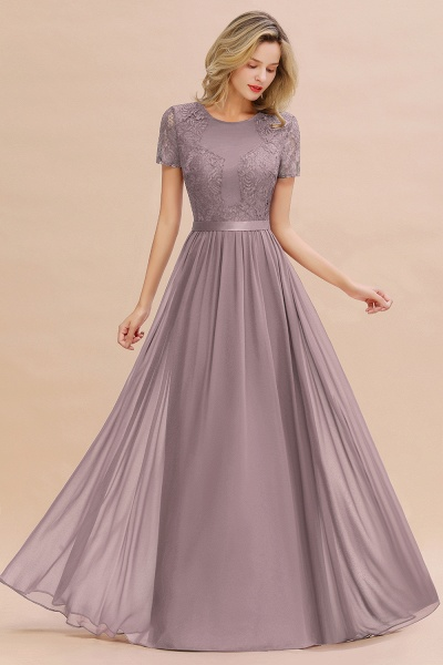 BM0831 Chiffon Lace Scoop Short Sleeve Bridesmaid Dress_37