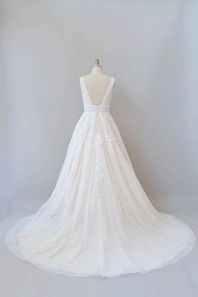 Elegant V-neck Appliques Tulle A-line Wedding Dress_3