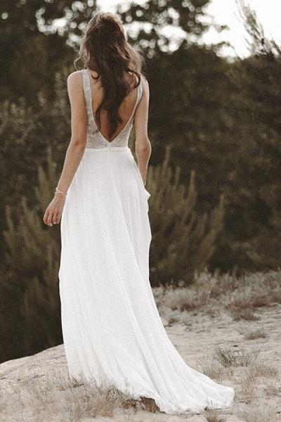 V-neck Lace Beading Chiffon A-line Wedding Dress_3