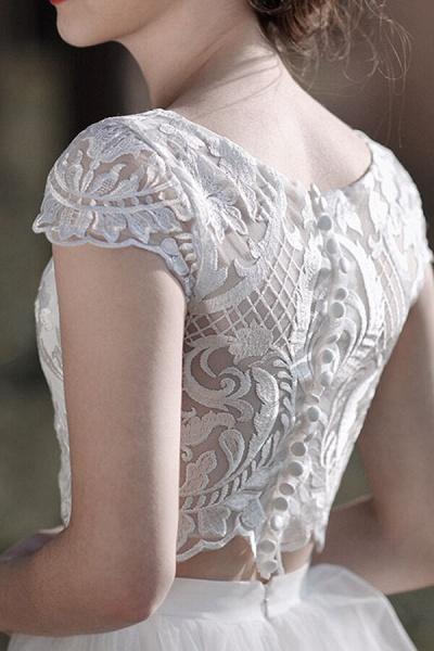 Latest Short Sleeve A-line Tulle Wedding Dress_10