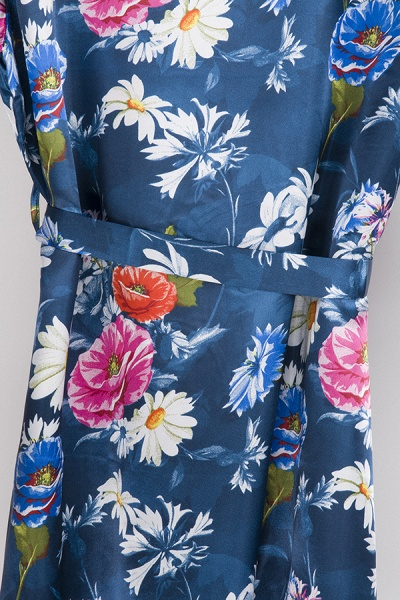 Short Sleeve Floral Print Bridesmaid Bridal Robes_23