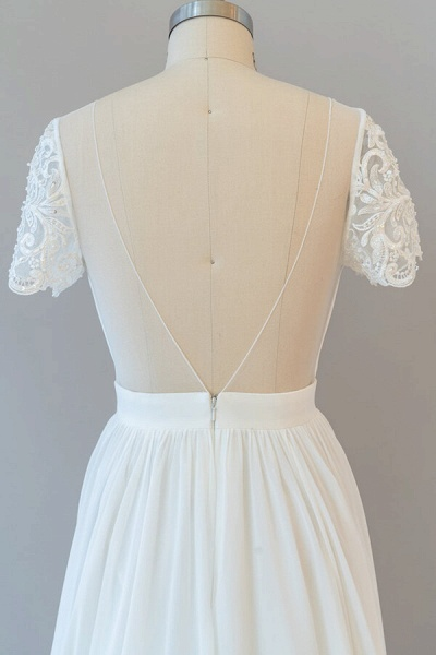 Ruffle Short Sleeve Chiffon A-line Wedding Dress_8
