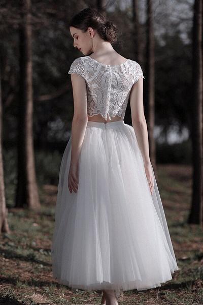 Latest Short Sleeve A-line Tulle Wedding Dress_3