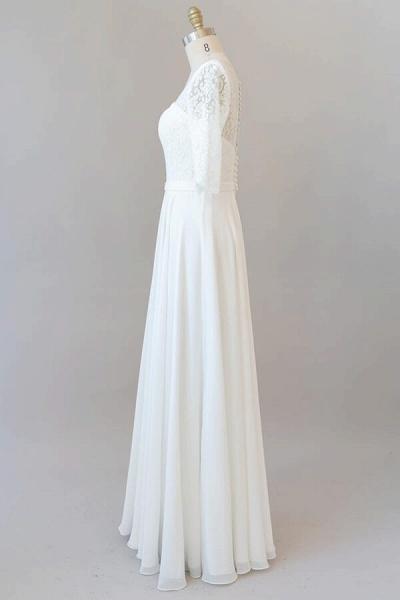 Graceful Lace Chiffon Floor Length Wedding Dress_5