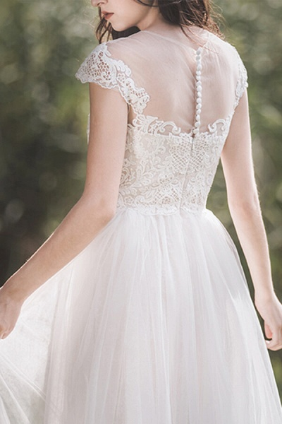 Awesome Cap Sleeve Lace Tulle A-line Wedding Dress_8