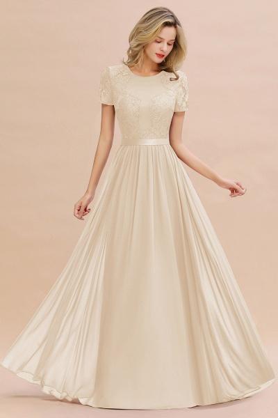 BM0831 Chiffon Lace Scoop Short Sleeve Bridesmaid Dress_14