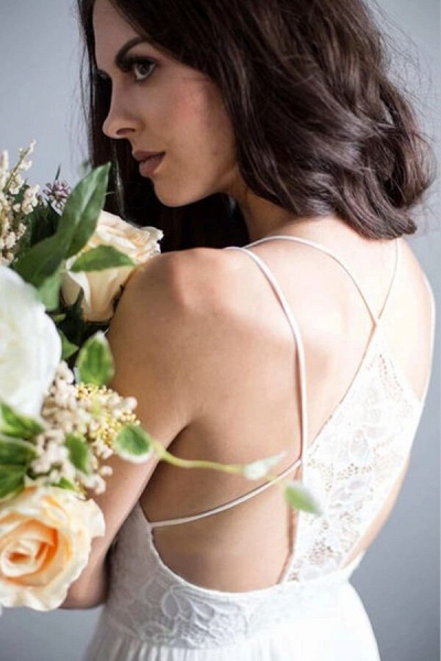 Amazing Spaghetti Strap Lace Chiffon Wedding Dress_6