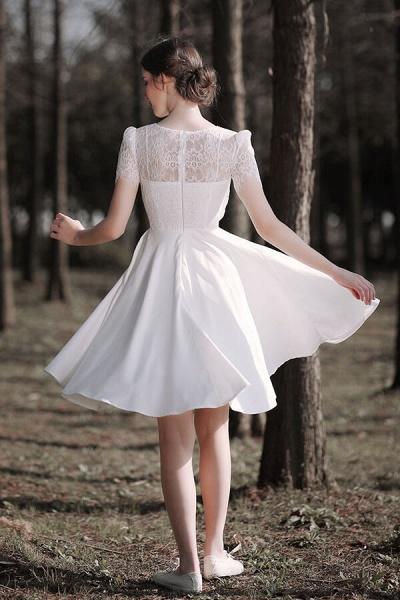 Short Sleeve Lace A-line Short Wedding Dress_3