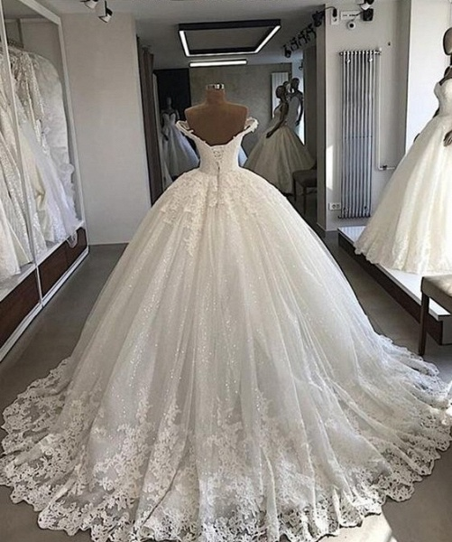 Off-the-shoulder Lace Tulle Ball Gowns_2