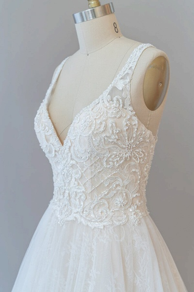 V-neck Appliques Tulle Chapel Train Wedding Dress_7