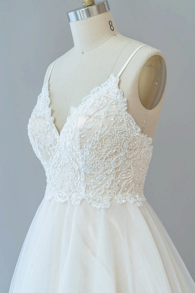 Spaghetti Strap Lace Tulle A-line Wedding Dress_7