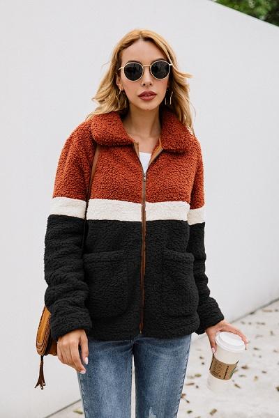 Daily Street Fashion Basic Two Toned Fur Coats_9