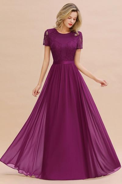 BM0831 Chiffon Lace Scoop Short Sleeve Bridesmaid Dress_42