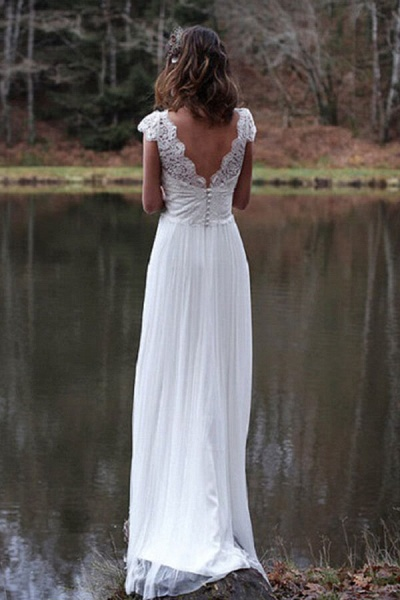 Graceful Cap Sleeve V-neck Lace Tulle Wedding Dress_3