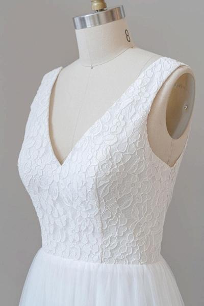 Open Back V-neck Lace Tulle A-line Wedding Dress_7