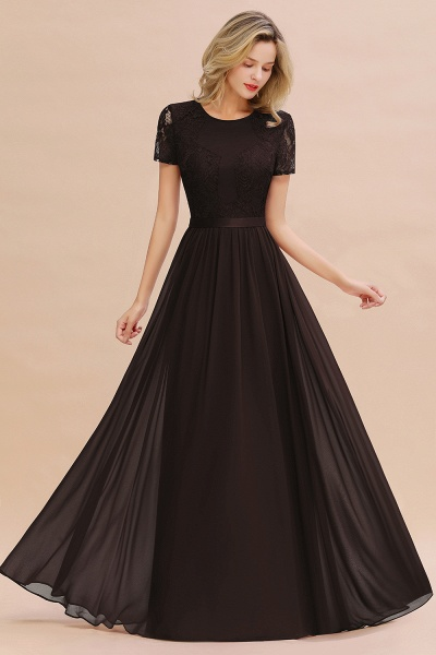 BM0831 Chiffon Lace Scoop Short Sleeve Bridesmaid Dress_11