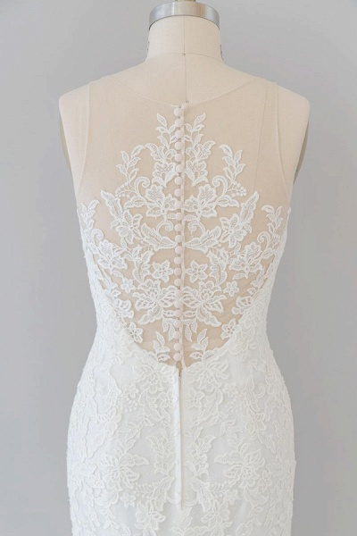 Graceful Illusion Appliques Mermaid Wedding Dress_8