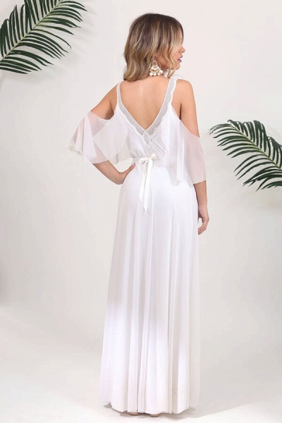 V-neck Cold Shoulder Chiffon A-line Wedding Dress_3