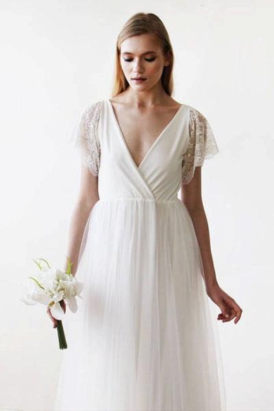 V-neck Short Sleeve Lace Tulle A-line Wedding Dress_5