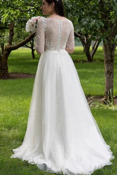 Modest Lace Tulle Court Train A-line Wedding Dress_3