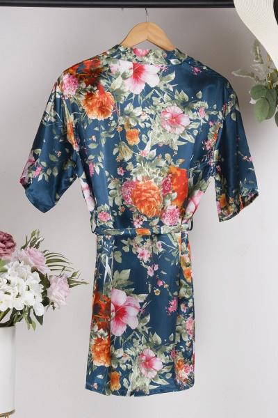 Short Sleeve Floral Print Bridesmaid Bridal Robes_27