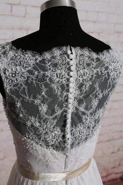 Elegant Lace Chiffon A-line Wedding Dress_4