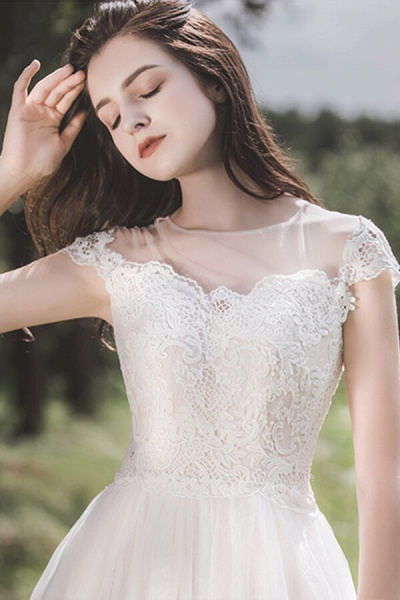 Awesome Cap Sleeve Lace Tulle A-line Wedding Dress_9
