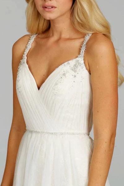 Ruffle Beading V-neck Tulle A-line Wedding Dress_4