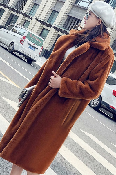 Daily Street Fashion Going out Winter Long Faux Fur Coat_6