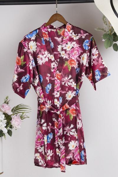 Short Sleeve Floral Print Bridesmaid Bridal Robes_14