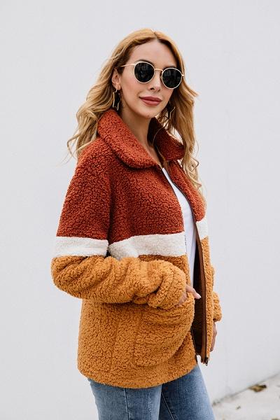 Daily Street Fashion Basic Two Toned Fur Coats_5
