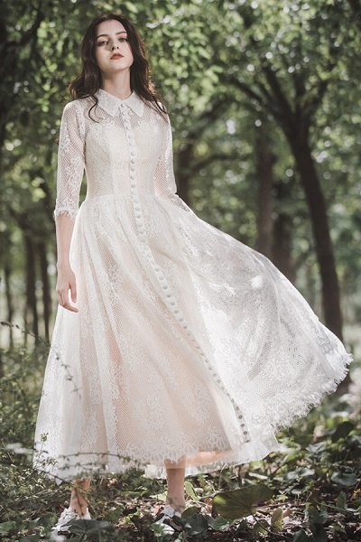 Cute Front Button-up Lace A-line Wedding Dress_1