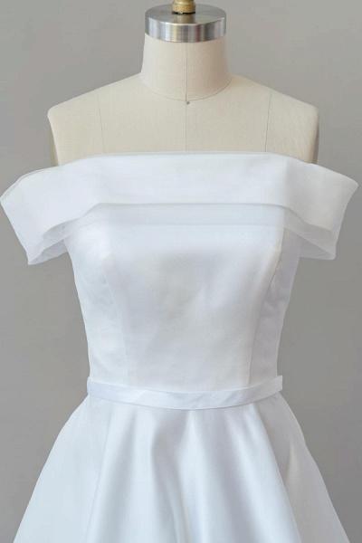 Graceful Off Shoulder Satin Ball Gown Wedding Dress_5