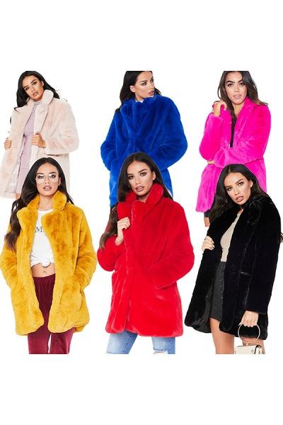 Winter Daily Regular Stand Long Faux Fur Coats_58