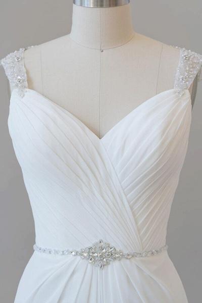 Elegant Ruffle Beading Chiffon Sheath Wedding Dress_6