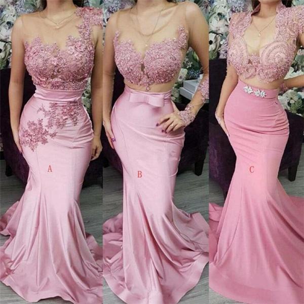 Appliques Lace Mermaid Evening Dresses_2