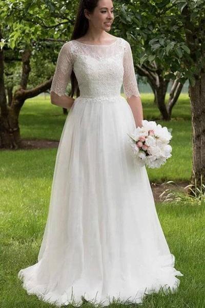 Modest Lace Tulle Court Train A-line Wedding Dress_2