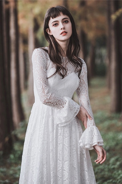 Illusion Long Sleeve Lace A-line Wedding Dress_9