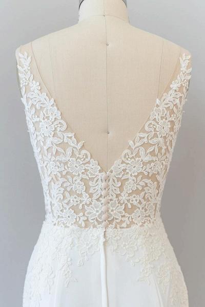 Elegant Lace Floor Length Mermaid Wedding Dress_8