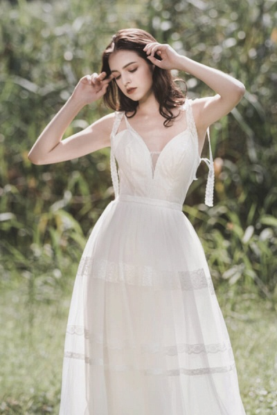 Eye-catching Lace Tulle A-line Wedding Dress_6