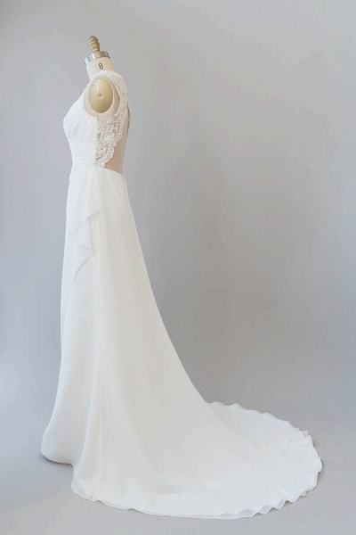 Awesome Ruffle Lace Chiffon Sheath Wedding Dress_5