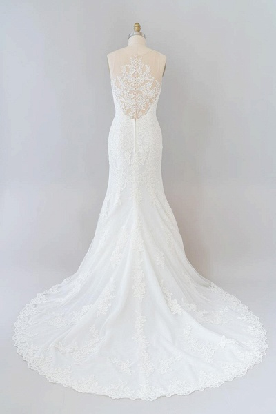 Graceful Illusion Appliques Mermaid Wedding Dress_3