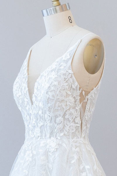 Open Back Appliques Tulle A-line Wedding Dress_7