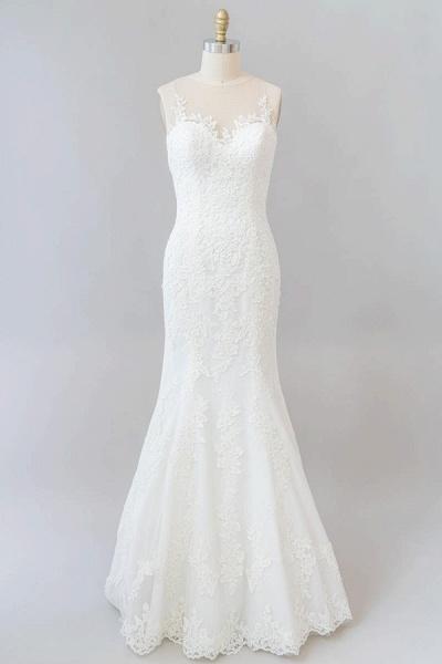 Graceful Illusion Appliques Mermaid Wedding Dress_1