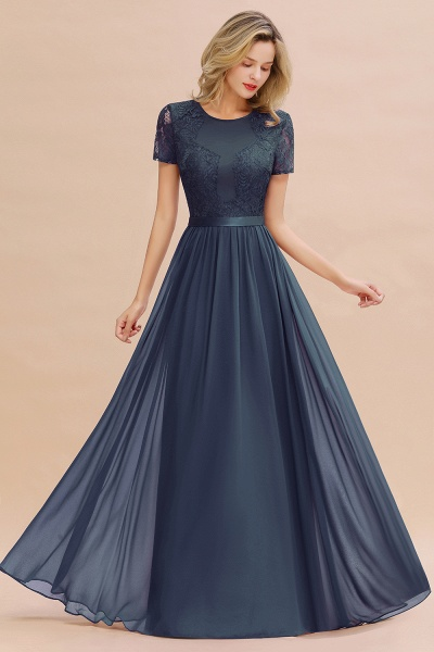 BM0831 Chiffon Lace Scoop Short Sleeve Bridesmaid Dress_39