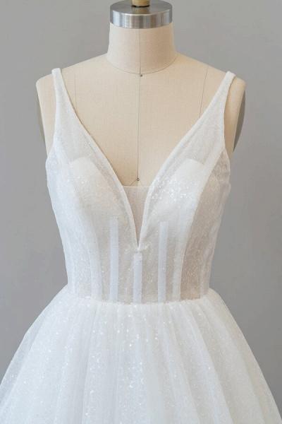 Open Back Sequins Tulle A-line Wedding Dress_6