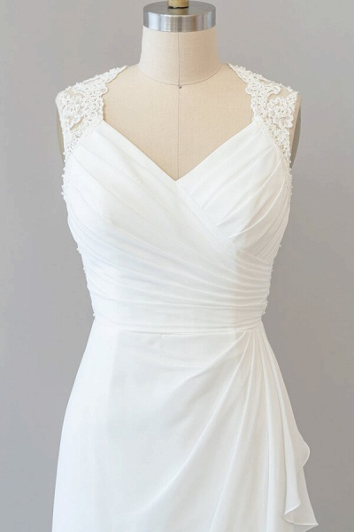 Awesome Ruffle Lace Chiffon Sheath Wedding Dress_6