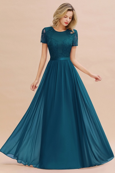 BM0831 Chiffon Lace Scoop Short Sleeve Bridesmaid Dress_27